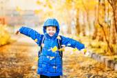 Happy little girl throws the autumn leaves in the air. — Stock Photo