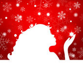 Silhouette of beautiful girl blowing snowflakes on a red backgro — 图库矢量图片