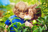 Children smelling bouquet of peonies, sun back lighting. Toning — Stock Photo