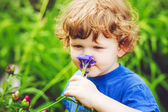 Child smelling flower. Toning photo. — 图库照片