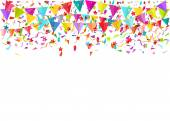 Colorful falling tiny confetti pieces and colored pennants. Vect — Vector de stock