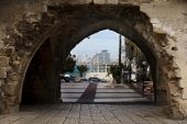 Stone arch of old Jaffa.Israel. — Stock Photo