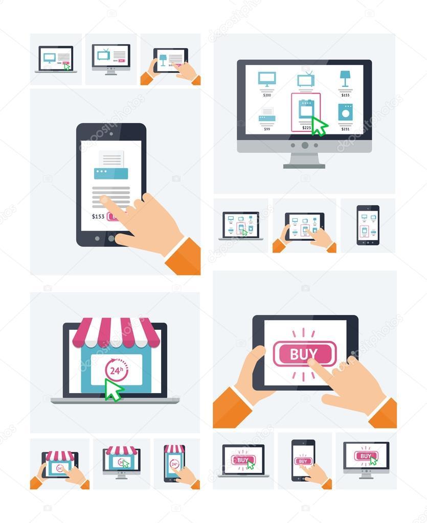 Site de loja online design plano em v rios dispositivos for Compra de vajillas online