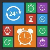 White clock icons set — Stock Vector