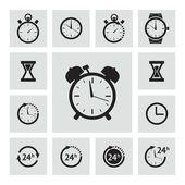 Conjunto de iconos de reloj negro — Vector de stock