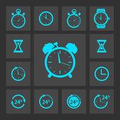 Sistema iconos del reloj azul — Vector de stock