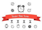 černá hodiny ikony nastavit — Stock vektor