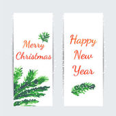 Christmas tree brunches banners — Stock Vector