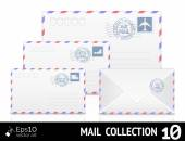 Enveloppe courrier aérien avec timbre isolé sur fond blanc. — Vecteur