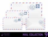 Air Mail Umschlag mit Briefmarke isoliert auf weißem Hintergrund. — Stockvektor