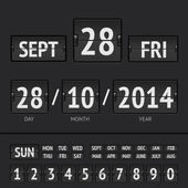 Analog black scoreboard digital week timer — Stock Vector