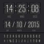 模拟的黑色记分牌数字周计时器 — 图库矢量图片