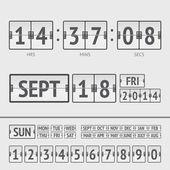 Analog black scoreboard digital week timer — Vetor de Stock