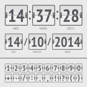 Analog black scoreboard digital week timer — Stok Vektör