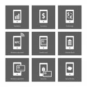 Mobile payment icons — Stock Vector