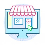 Online alışveriş kavramı — Stok Vektör