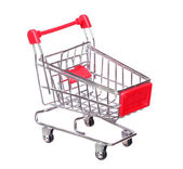 Red shopping cart isolated on white background — Stock Photo