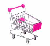 Pink shopping cart isolated on white background — Stock Photo