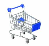 Blue shopping cart isolated on white background — Stock Photo