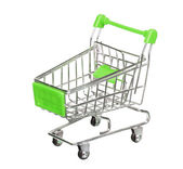 Green shopping cart isolated on white background — Stock Photo