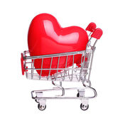 Heart in shopping cart concept isolated on white background — Fotografia Stock