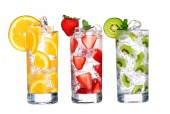 Glass Of Cold fruit Drinks collection  isolated on white background — Stock Photo