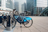 Barclays Cycle Hire in Canary Wharf — Stock Photo