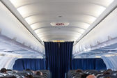 Plane interior view with seats — Stock Photo