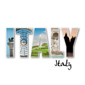 'ITALY' collage of different famous locations — Stock Photo