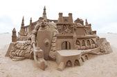Grand sandcastle on beach — Stock Photo