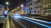 Night traffic image of Av. Almirante Reis. — Stock Photo