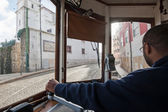 Interior view of tram conductor while driving. — Stock Photo