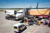 Boarding Lufthansa Jet airplane in Berlin airport. — Stock Photo