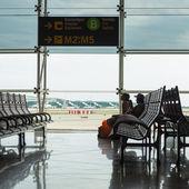 Waiting room inside El Prat International Airport. — Stok fotoğraf