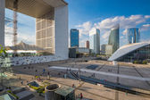 People walking in the central square of La Defense — Stock Photo