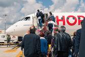 Boarding Air France Hop Jet airplane — Stock Photo