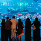 People in front of the Oceanarium inside Dubai Mall — Stock Photo