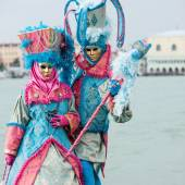 Carnival of Venice, beautiful masks at St. George island. — Stock Photo