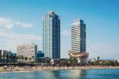 Barceloneta Beach and Port Olympic — Stock Photo