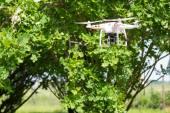 Quadrocopter drone flies — Stock Photo