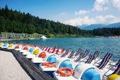 Paddle boats in Lavarone Lake — Stock Photo