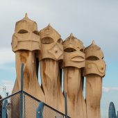 Chimneys on rooftop of Gaudi's  masterpiece — Stock Photo