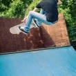 Skateboarder jumping in halfpipe at skatepark. — Stock Photo #56627731
