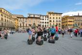 Tourists visiting the city during their guided Segway — Stock Photo