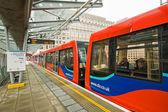 Train at Canary Wharf DLR station — Stock Photo