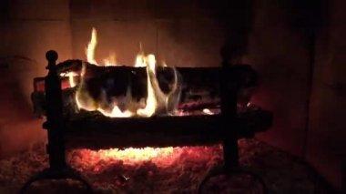 Yule log burning in fireplace — Stock Video