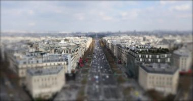 Aerial view of the city and Champs Elysees — Stock Video