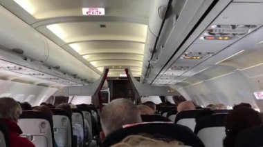Jet airplanes interior view with unrecognizable people — Stock Video