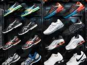 Exposition of nike sport shoes — Stock Photo