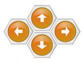 Four yellow arrow keys — Stock Vector